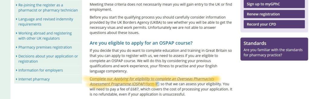 OSPAP form